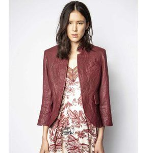 NWT ZADIG & VOLTAIRE Burgundy Leather Jacket 34